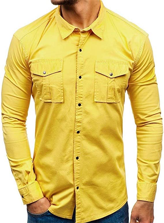 ZODOF camisa hombre camisas sport Nuevo Casual Comodo Moda Empalme Estampación Multi-bolsillo Suelto Manga larga Camisa Tops Blusa Moda para hombre camisa lino hombre(L,Amarillo): Amazon.es: Instrumentos musicales