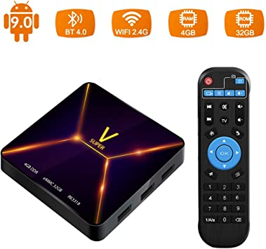Android TV Box, Super V Android 9.0 TV Box 4GB RAM / 32GB ROM Rockchip 3318 Soporte Quad-Core 2.4GHz WiFi BT4.0 3D 4K HDMI DLNA 3D Smart TV Box: Amazon.es: Electrónica