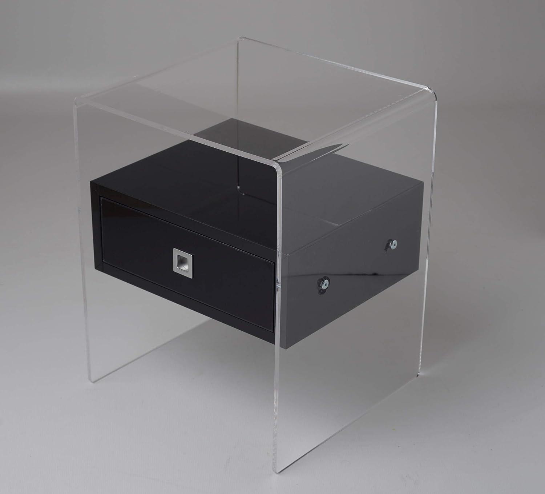 Fimel Nachttisch Nachttisch Nachttisch Beistelltisch aus Plexiglas transparent mit Schublade in Acryl schwarz glänzend Größe Platzbedarf insgesamt L.40 x P.37 X H 50 cm ce8484