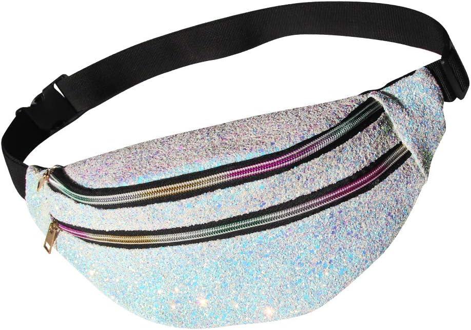 MHJY Glitter Fanny Pack Sparkly Waist Bag Shine Waist Pack for Women Rave Party Festival Travel Beach Shoulder Bag Outdoor Belt Bags