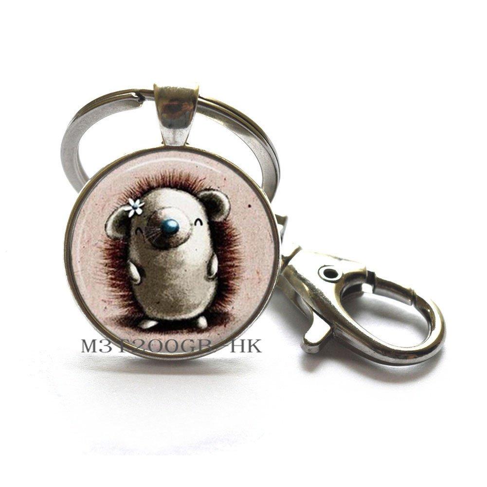 Porcupine - Llavero de cristal con diseño de erizo, llavero ...