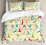 Doodle Queen Size Duvet Cover Set by Lunarable, Workout Fitness Girls in Different Yoga Pilates Positions Health Wellness Gymnastics, Decorative 3 Piece Bedding Set with 2 Pillow Shams, Multicolor