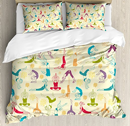 Doodle Queen Size Duvet Cover Set by Lunarable, Workout Fitness Girls in Different Yoga Pilates Positions Health Wellness Gymnastics, Decorative 3 Piece Bedding Set with 2 Pillow Shams, Multicolor by Lunarable