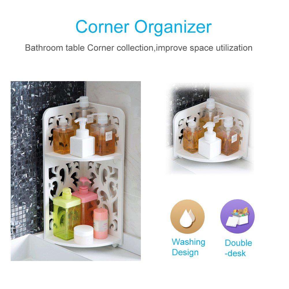 Lisuu 2-Tier Corner Shower Caddy - 2 Shelf Shower,Wood-Plastic ...