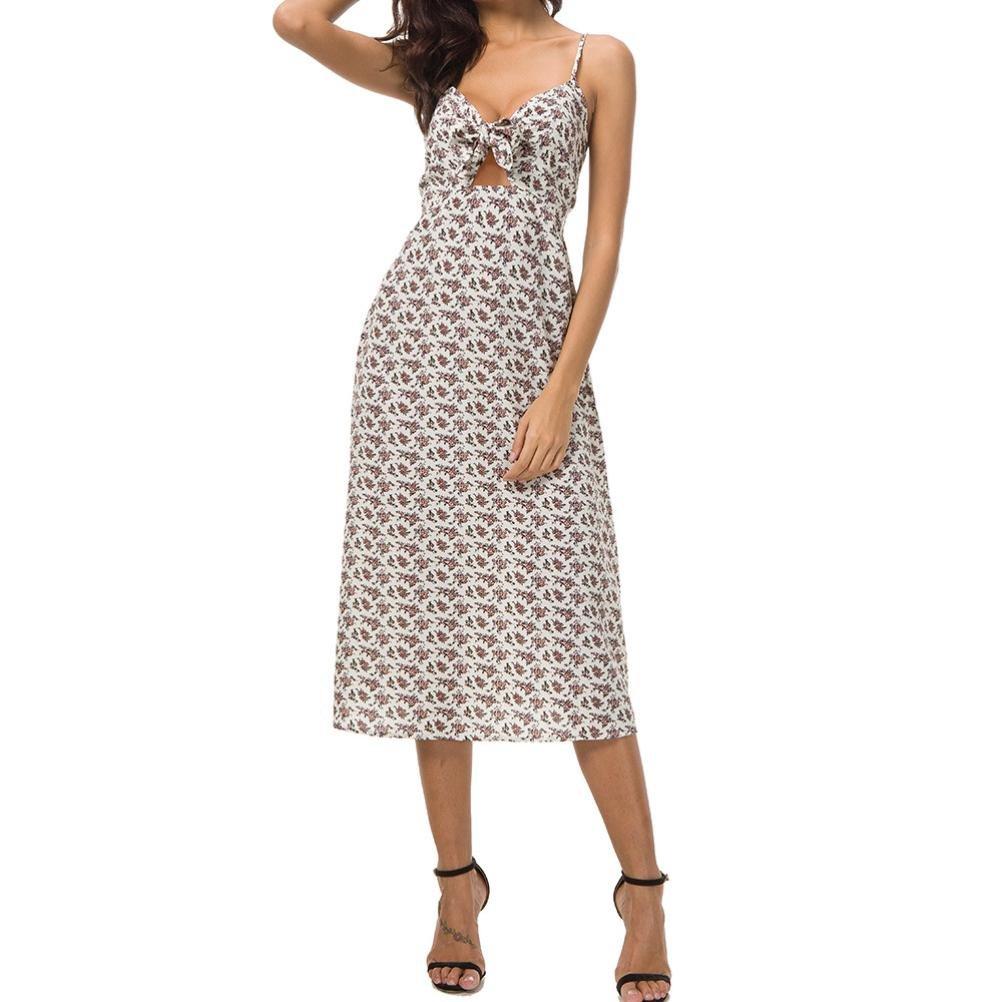 Spbamboo Summer Women Camisole Floral Print Cut High Waist Bohemian Beach Dress