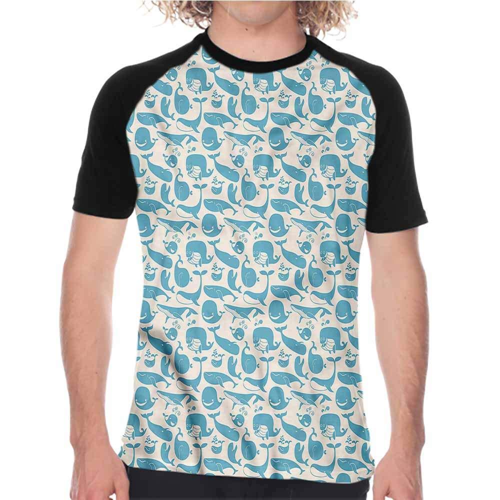 Opehodecor Whale,Mens Baseball Short Sleeve Happy Underwater Life,Summer Fashion Mens Tees