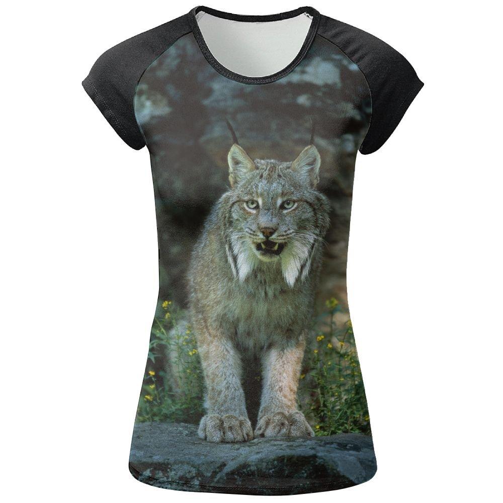 AOBOER Women Canada Lynx Fashion Short Sleeves Tees Quick Dry Tshirt