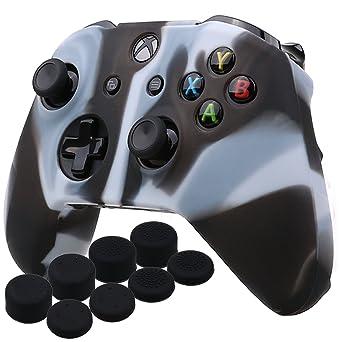 YoRHa silicona caso piel Fundas protectores cubierta para Microsoft Xbox One X y Xbox One S Mando x 1 (Blanco negro) Con Pro los puños pulgar thumb grips x 8: Amazon.es: Juguetes