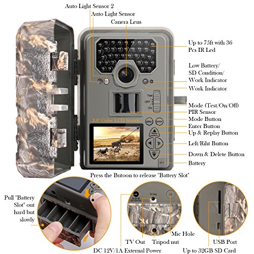 TECBEAN Game Trail Hunting Camera 12MP 1080P Full HD No Glow Infrared Wildlife Camera with Night Vision up to 23M 75ft 36pcs 940nm IR LEDs and IP66 Waterproof Surveillance Trail Cam Game Trail Cameras