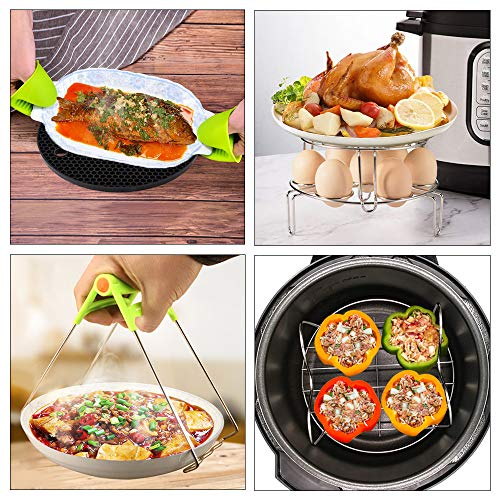 15 Pieces Accessories Set Compatible with 6,8 Qt InstaPot, Ninja Foodi (8qt), Other Pressure Cookers, with Steamer Basket, Springform Pan, Stackable Egg Rack, Egg Bites Mold, Oven Mitts and More by JGSY (Image #5)