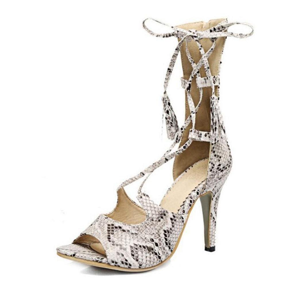 blanc 39 EU Femmes Sandales Serpentine Talons hauts Cool Bottes Peep Toe attaché avec des chaussures de gland