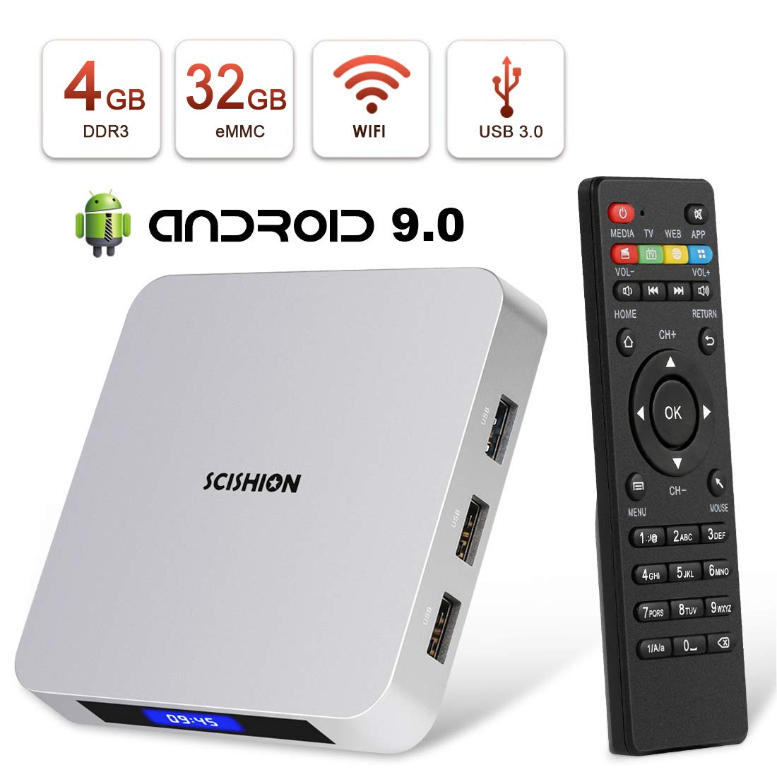 Android TV Box,HAOSIHD AI ONE Android 9.0 TV Box with 4GB RAM 32GB ROM RK3328 Quad-core,Support 4K Full HD BT 4.0 Smart Internet TV Box by HAOSIHD