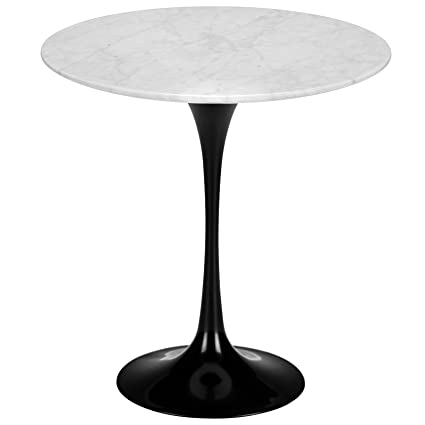 Poly And Bark Daisy 20u201d Marble Side Table In Black Base