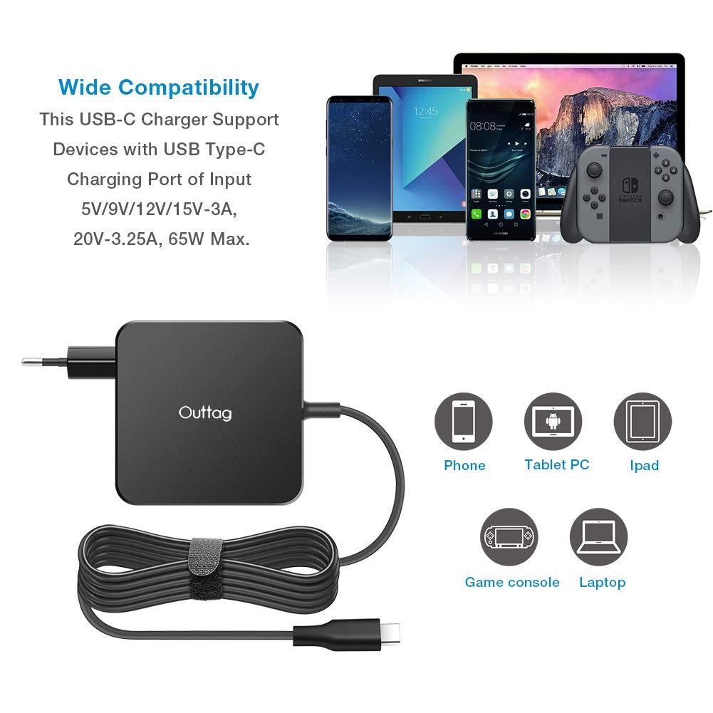 Outtag USB C Cargador de 65W Type C power Delivery PD Fuente para ...