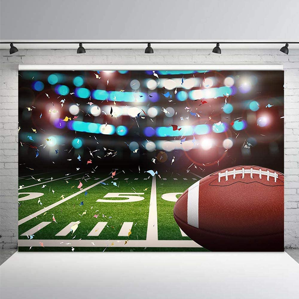 COMOPHOTO Football Field Backdrop Super Bowl Themed Night Spotlight Confetti Photography Background 7x5ft Super Bowl Sports Stadium Green Grass Kids Birthday Party Backdrops
