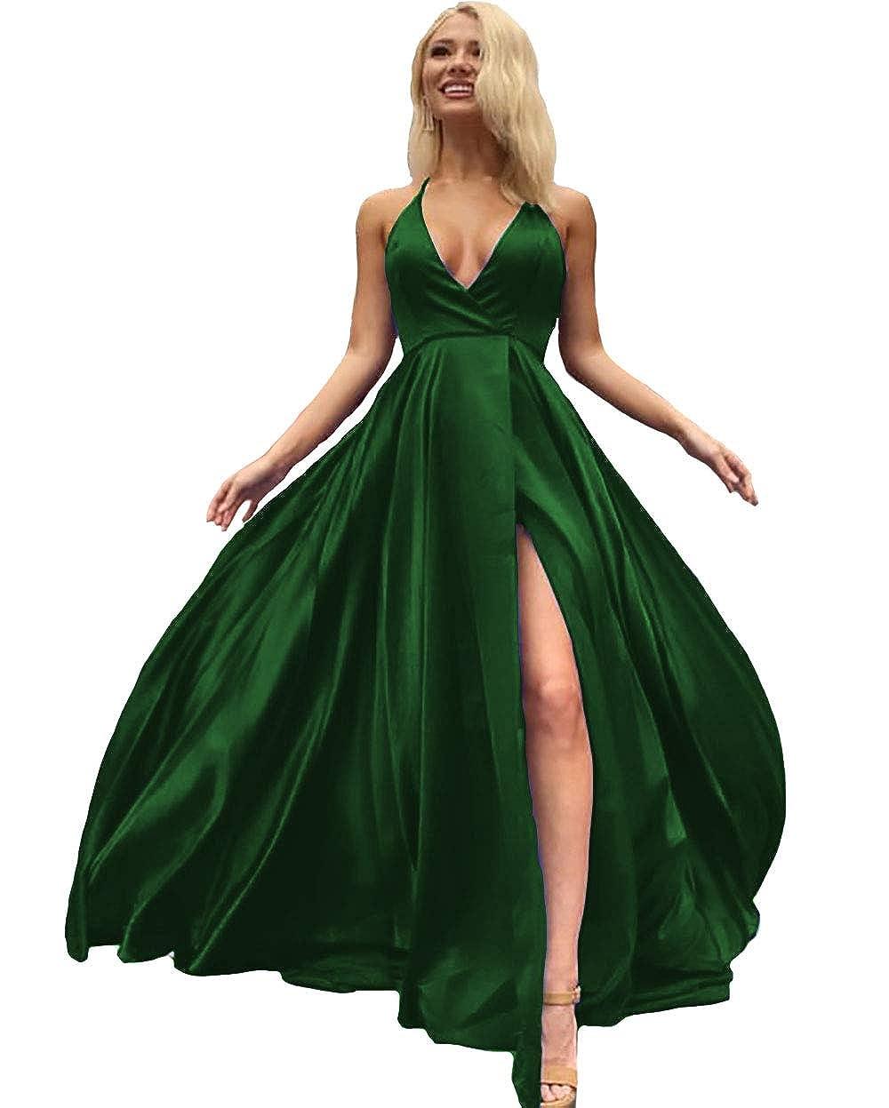 Dark Green IVYPRECIOUS V Neck Side Split Prom Dresses A Line Long Evening Gowns for Women