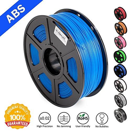 ABS Filaments Blue for 3D Printer-SUNLU ABS Filament 1.75 mm,Low Odor Dimensional Accuracy +/- 0.02 mm 3D Printing Filament,2.2 LBS (1KG) Spool 3D Printer Filament for Most 3D Printers & 3D Pens,Blue