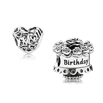 Original Pandora Gift Set 1 Silver Charm Happy Birthday 791289 And Loving Mom 791519 Amazoncouk Jewellery