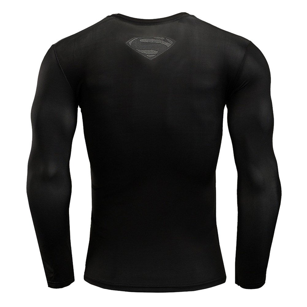 PKAWAY Fashion Graphic T Heros Themed Black Compression Workouts Shirt Long Sleeve