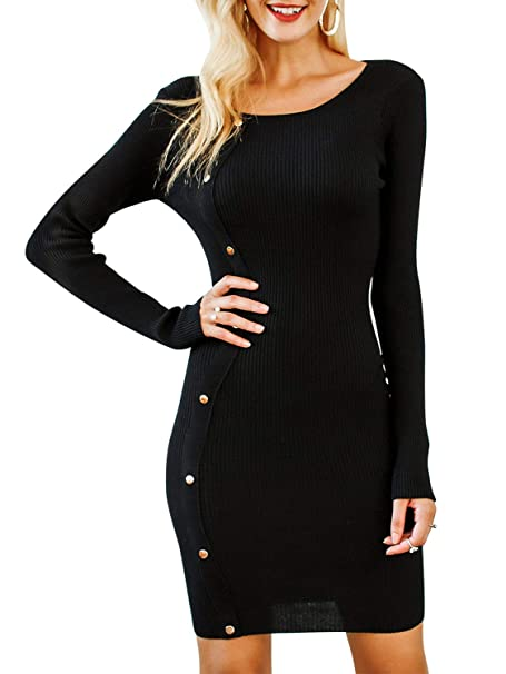 a7d4f84a5c2 BerryGo Women s O Neck Bodycon Ribbed Knit Sweater Pencil Midi Dress Black