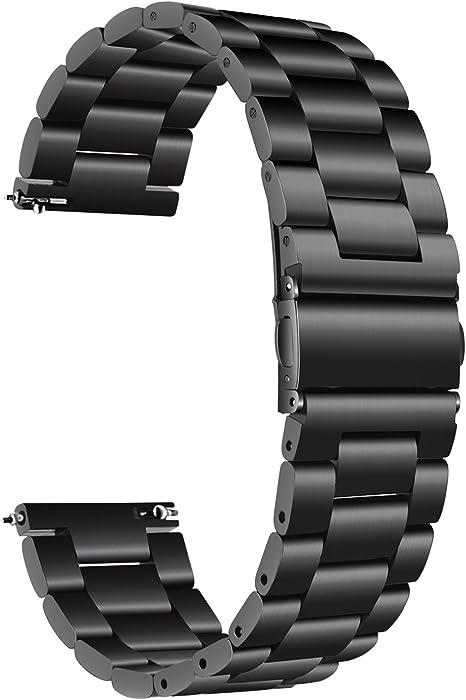 TRUMiRR para Samsung Galaxy Watch 42mm Band, 20mm Correa de Reloj de Pulsera de Metal con Correa de Acero Inoxidable sólido para Galaxy Watch 42mm R810 R815 / Gear Sport/Gear S2 Classic