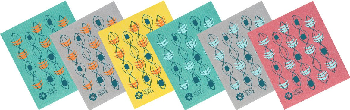 Turquoise//Apple//Yellow + SIX Reusable Set of 6 Mixed Solid Colors Trendy Tripper Swedish Dishcloths