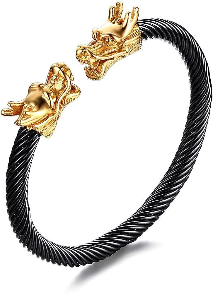 Vnox - Pulsera de acero inoxidable para hombre con dos cabezas de dragón estilo vikingo, 2 colores