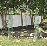 Garden-Trellis Arch 9' Tall - Wrought Iron - Antique Mint Green Finish