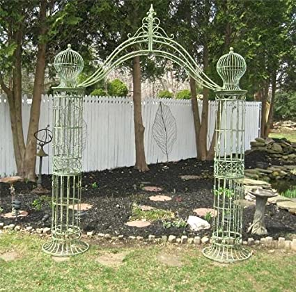 Garden Trellis Arch 9u0027 Tall   Wrought Iron   Antique Mint Green Finish