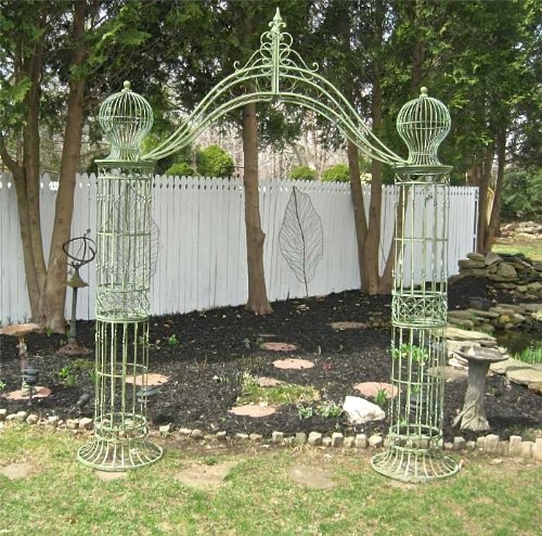 Garden-Trellis Arch 9' Tall - Wrought Iron - Antique Mint Green Finish by SERENDIPPITY (Image #6)