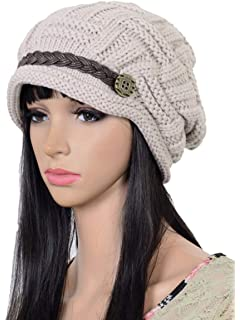 3cfc5cf595a78f ELACUCOS Women Winter Beanie Cabled Checker Pattern Knit Hat Button Strap  Cap