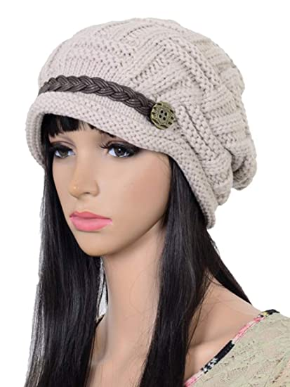 07c4c65bbe3c ELACUCOS Women Winter Beanie Cabled Checker Pattern Knit Hat Button Strap  Cap Beige