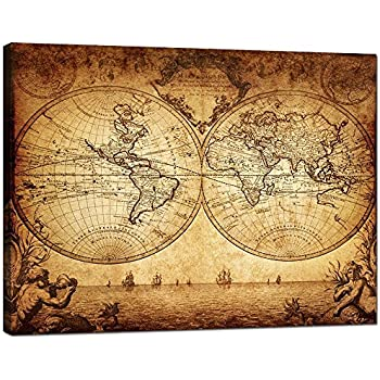 Amazon decor mi vintage world map canvas wall art retro map of sea charm canvas wall artnew antique vintage classic style canvas map of the worldglobe large postergallery wrappedglobal maphome office decor map gumiabroncs Image collections