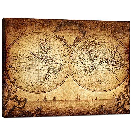Antique Wooden World Map Wall Art: Amazon.com