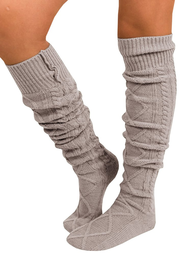 Nulibenna Women Fuzzy Socks Winter Knee High Cable Knit Comfy Boot Socks Juniors
