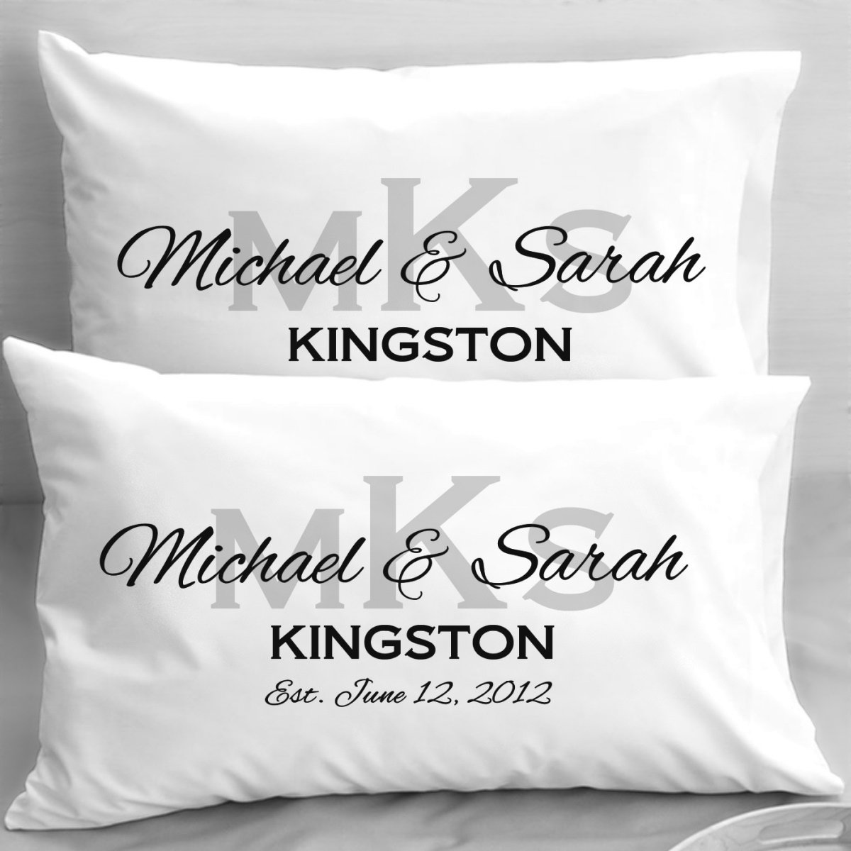 Monogram Wedding Pillowcases Elegant Initials Engagement Or Anniversary Gifts Amazoncouk Kitchen Home