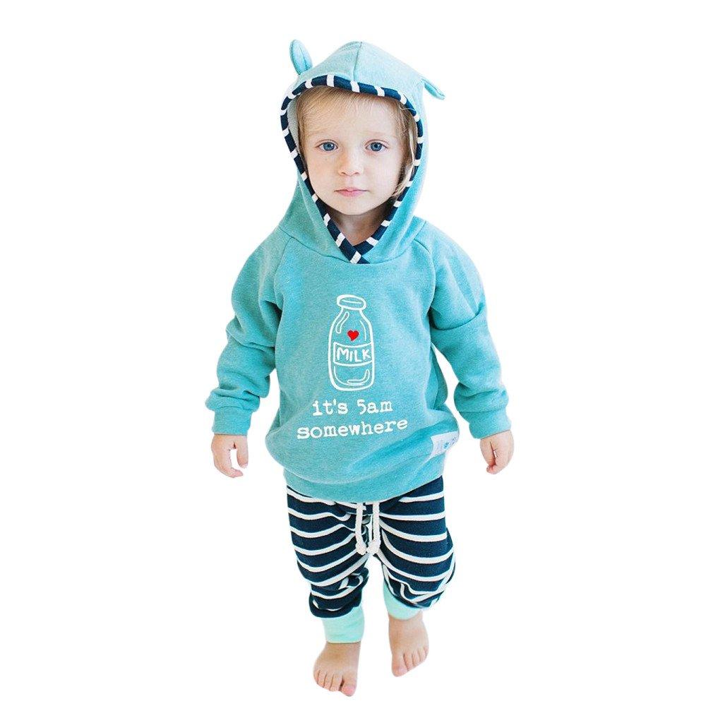 YanHoo Ropa para bebés Traje de Pantalones de suéter con Capucha Rayas Carta Infantil 2 Unids Recién Nacido Bebé Niña Ropa de Niña Conjunto A Rayas con Capucha Tops + Pantalones Trajes