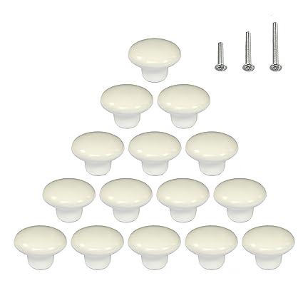 15PCS Glossy White Ceramic Cabinet Knobs Door Handles Round Cupboard Drawer  Wardrobe Pulls