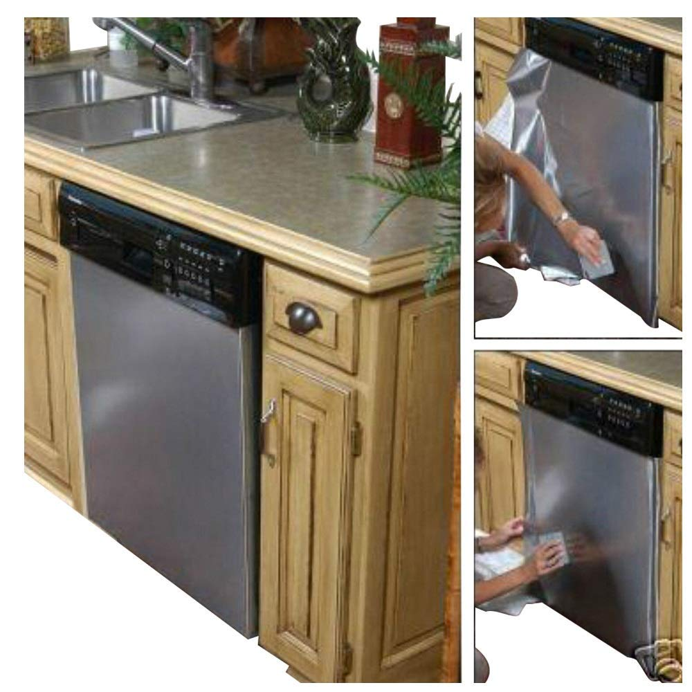 As Seen On TV Peel and Stick Dishwasher Cover Stainless Steel Film BRUSHED Slate Nickel Stainless Steel Film Update appliances 26'W x 36'L