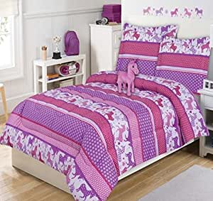 Amazon Com 4 Piece Kids Cute Unicorn Comforter Twin