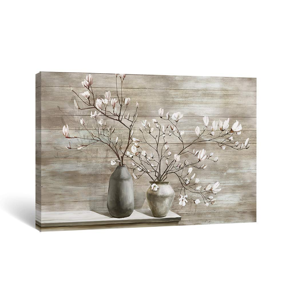 Takfot Farmhouse Wall Art Rustic Flower Pictures Canvas Paintings Home Decor Framed Prints Magnolia Floral Artwork Ready to Hang for Living Room Bedroom Bathroom 16x24 Inch