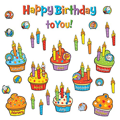 Eureka Back to School Dr. Seuss 'Happy Birthday' Cupcake Mini Bulletin Board and Classroom Decorations, 70pc, 6'' W x 21'' L