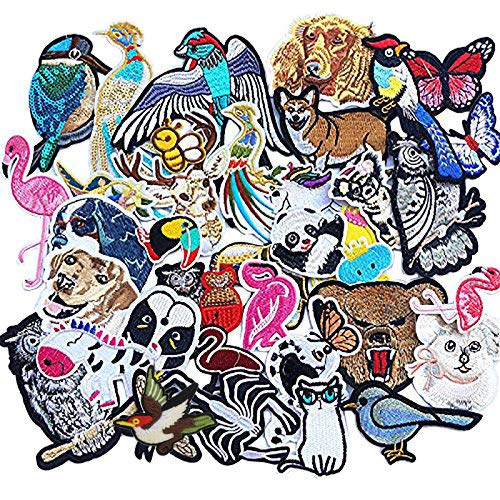 Libiline Kid Embroidered Flamingo Owl Panda Fish Dog Cat Bird Bear Butterfly Bee Patch Sew On/Iron On Patch Applique Clothes Dress Plant Hat Jeans Sewing Flowers Applique DIY Accessory (Animals)
