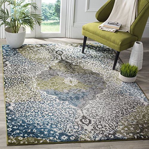 Cheap Safavieh Water Color Collection WTC672B Ivory and Peacock Blue Area Rug, 5'3″ x 7'6″