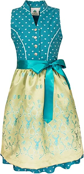 Isar-Trachten Child Youth Dirndl Dirndl 3-Piece Turquoise with White Blouse