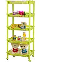 Glive Foldable 5 Layer Fruits and Vegetables Plastic Storage Basket Shelf Rack (Multicolour)
