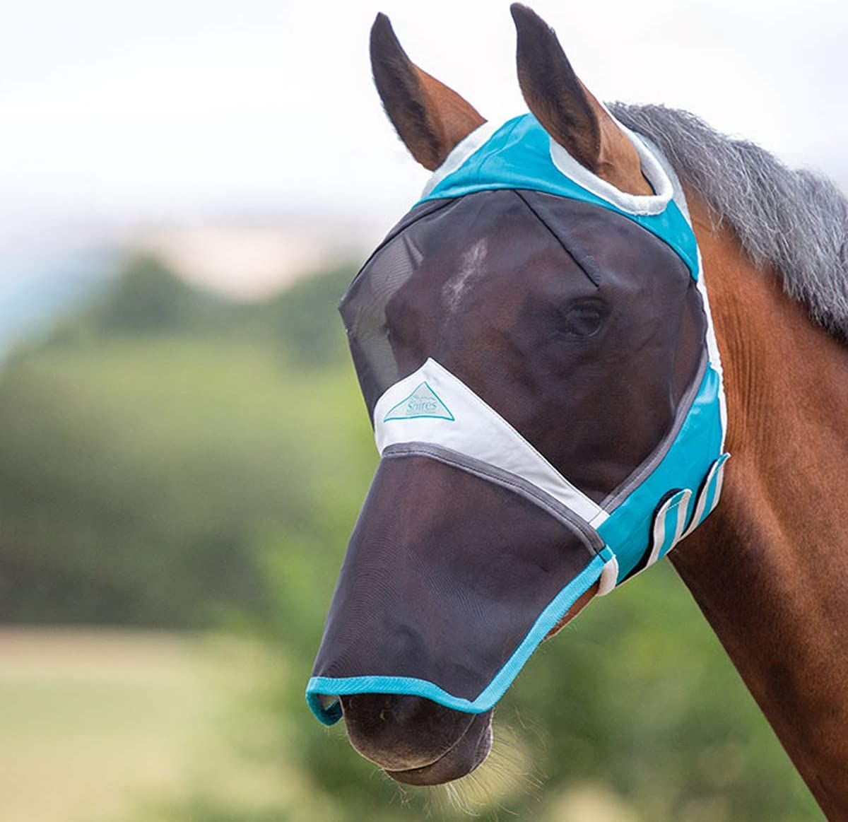 Teal Shires Fine Mesh Fly Mask with Ear Holes /& Nose