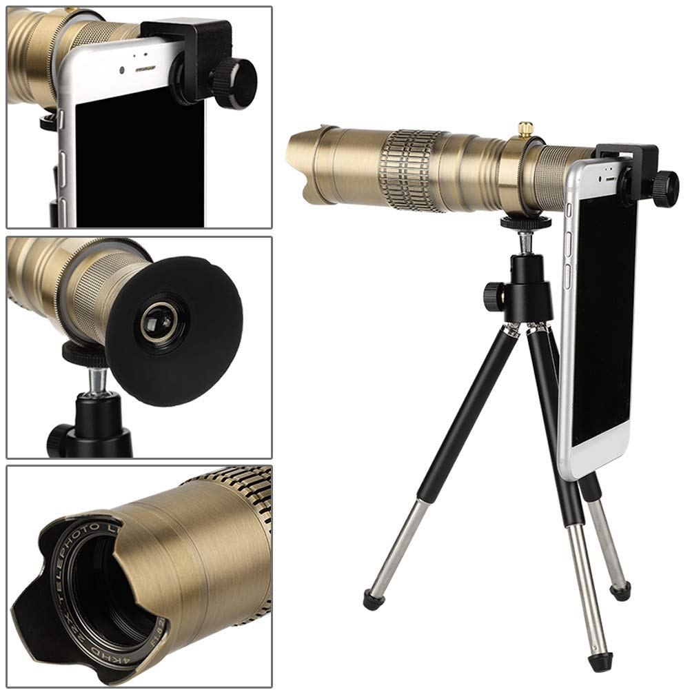 Zopsc New Universal 22X Phone Telephoto Telescope Zoom Camera Lens 4K HD Phone Lens Professional Camera with Remote Control Suitable for Watching Games, Concerts, Tourism etc.(Bronze) by Zopsc