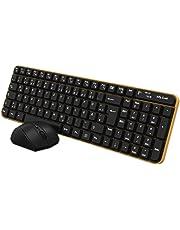 Jelly Comb Funk Tastatur Maus Set, 2.4G Kabellose Fullsize Tastatur und Maus Kombi für PC, Computer, Laptop, Smart TV, QWERTZ Deutsches Layout, Schwarz und Gelb