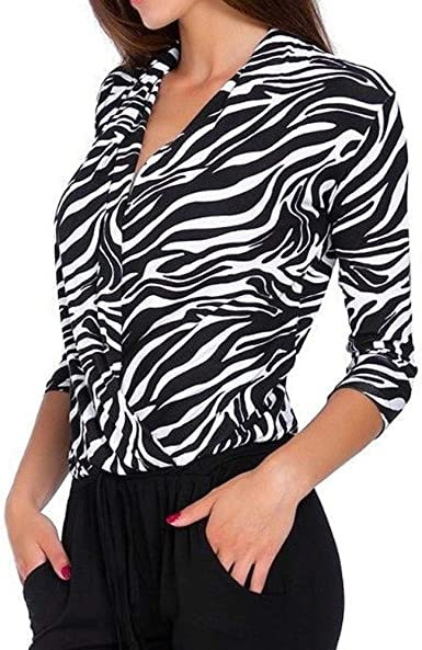 Logobeing Blusas Mujer Elegantes Sexy Camiseta Casual con Cuello En V y Manga Tres Cuartos Superpuesta con Estampado de Leopardo(XL, Blanco): Amazon.es: Ropa y accesorios